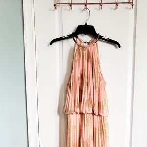 Peach gold occasion maxi dress